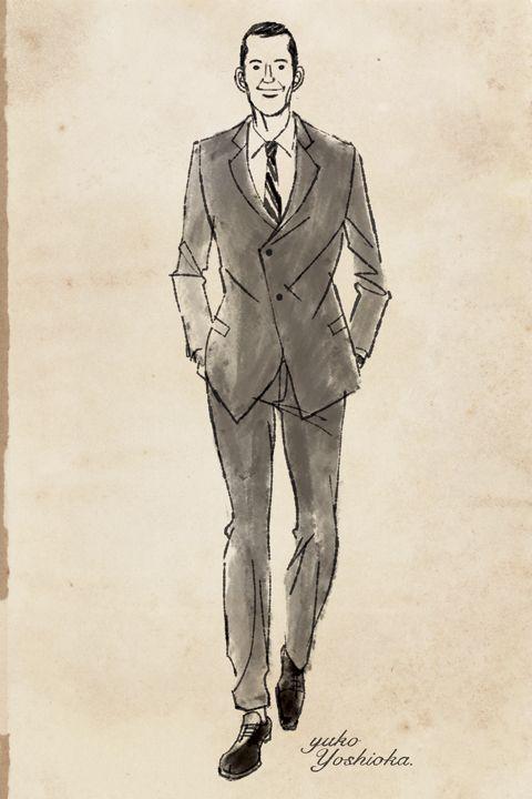 イラストレーション イラスト ファッションイラストレーション ファッションイラスト シック 線画 ドローイング 大人っぽい 男性 男性ファッション スーツ 白黒イラスト おしゃれ 吉岡ゆうこ イラスト イラスト おしゃれ イラストレーション