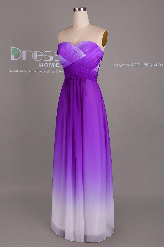 Purple Ombre Chiffon Long Bridesmaid Dress/Ombre by DressHome ...