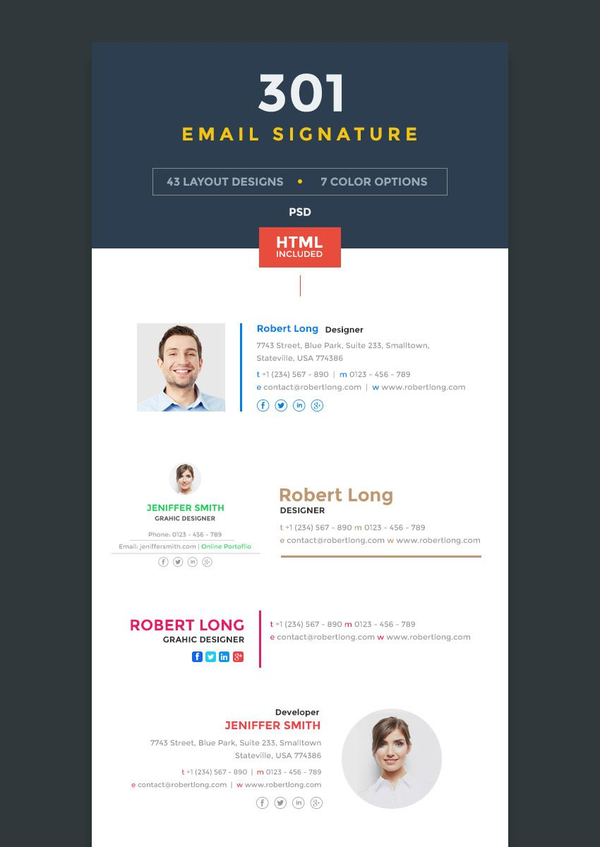 Modern Format Business Email Signature Templates Branding