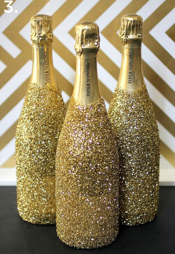 DIY Party Planner New Year's Eve Decor Recipe Ideas In 40 Inspiration Decorating Wine Bottles With Glitter
