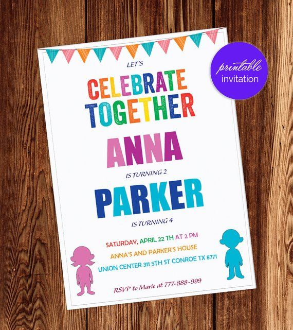 Boy Girl Joint Party Birthday Invitation Combined Invite Brother Sister