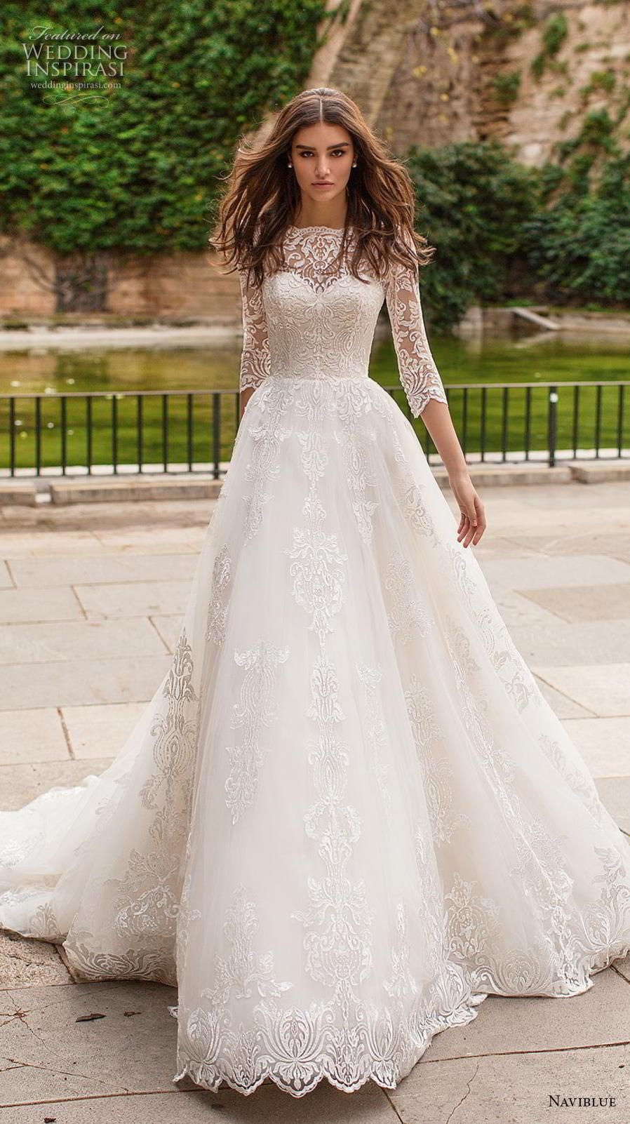 478b27c635 naviblue 2019 bridal three quarter sleeves illusion bateau sweetheart  neckline full embellishment elegant a line wedding dress chapel train (17)  mv ...