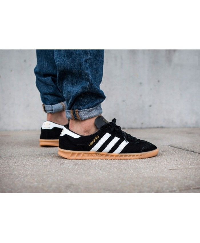 45ca9d92945a Adidas Hamburg Core Black Ftwr White Gum Trainers Sale UK