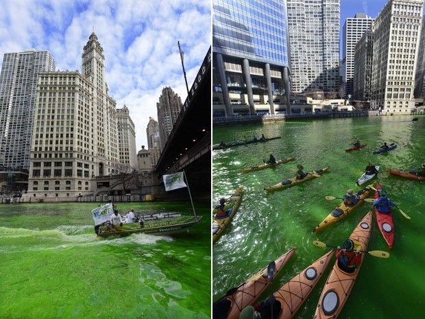 Pessoas passeiam de barco e caiaques nas águas tingidas de verde do Rio Chicago, na festa de São Patrício (Foto: Paul Beaty/AP)