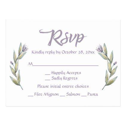 #wedding - #Purple RSVP Watercolor Flower Laurel Leaves Postcard
