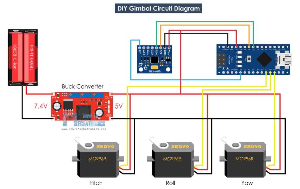 Diy Arduino Gimbal Self Stabilizing Platform Howtomechatronics Arduino Arduino Projects Circuit Diagram