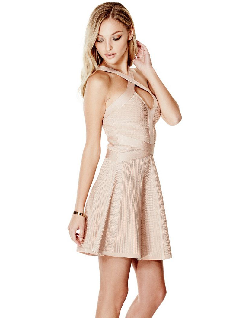 Textured Fit And Flare Bandage Dress Shop Guess Com