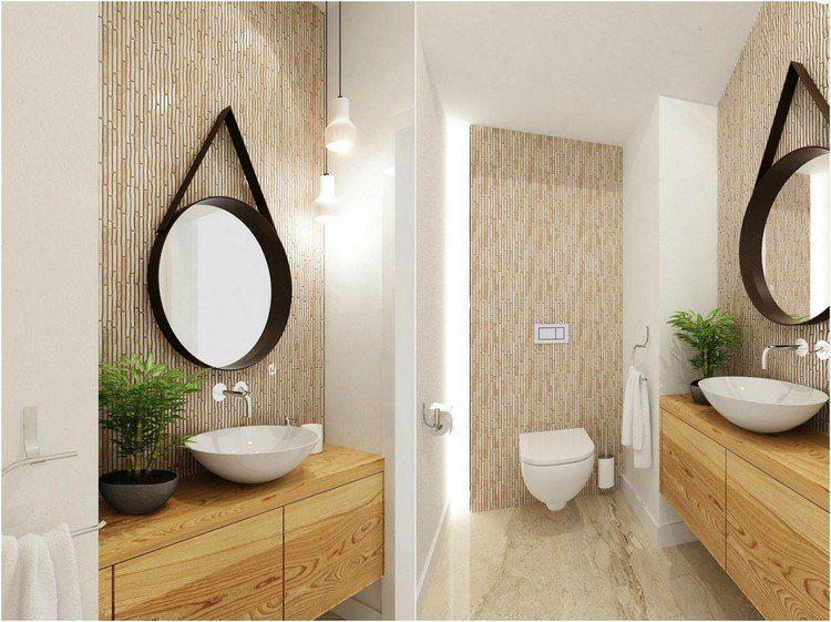 Wandfliesen in Bambus-Optik und Holz Waschtisch mit rundem