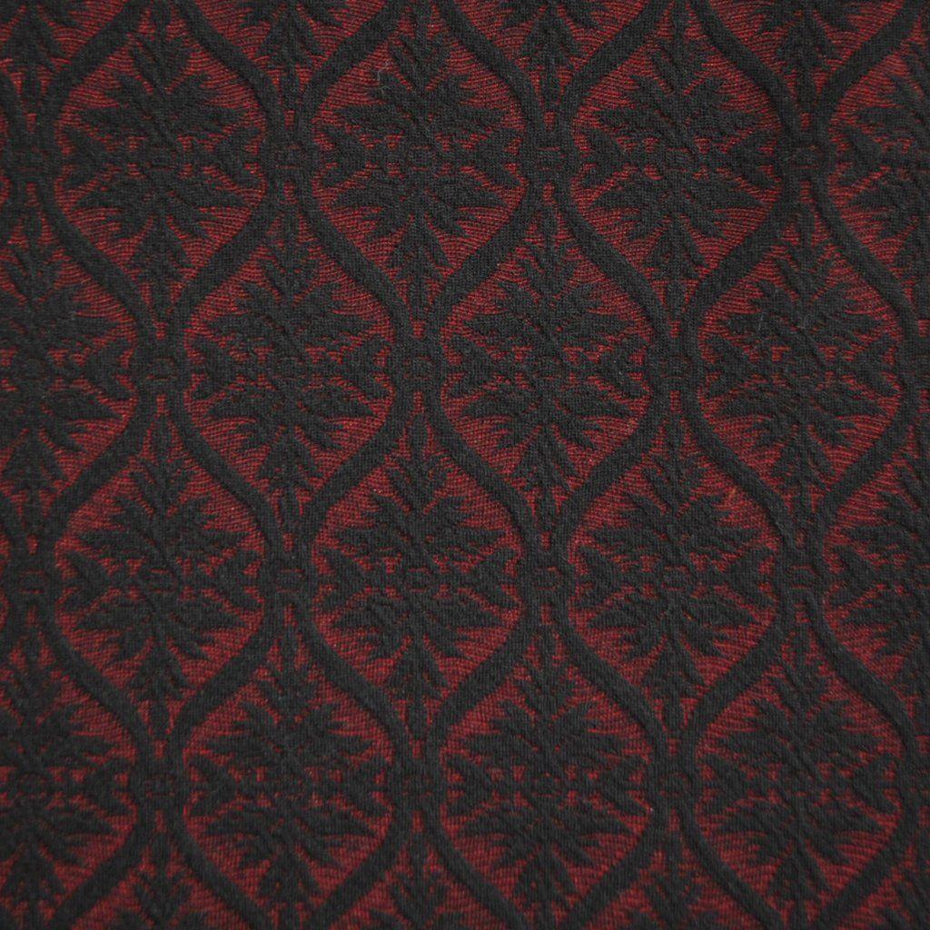 Red Medallions on Black Print Taffeta-like Fabric