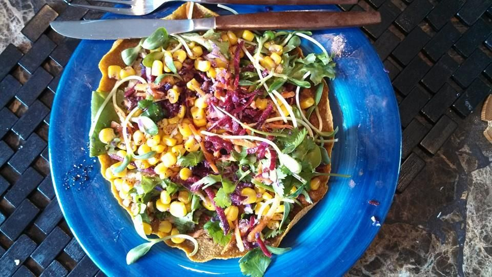 Pumpkin Tostada with Confetti Salad