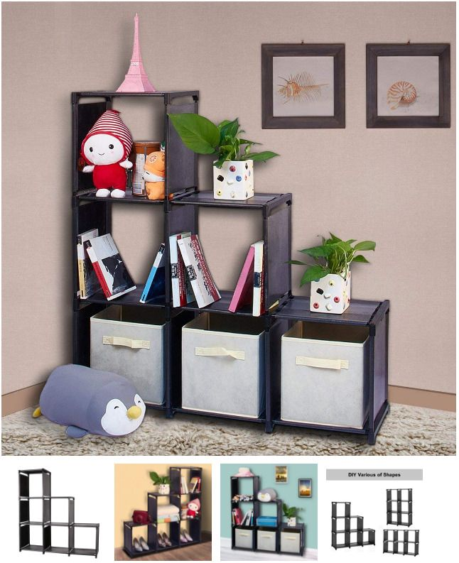 6 Cube Storage Organizer Cabinet Drawers Shelves Cubicle Shelf 3 Tier Bookshelf Wishwill