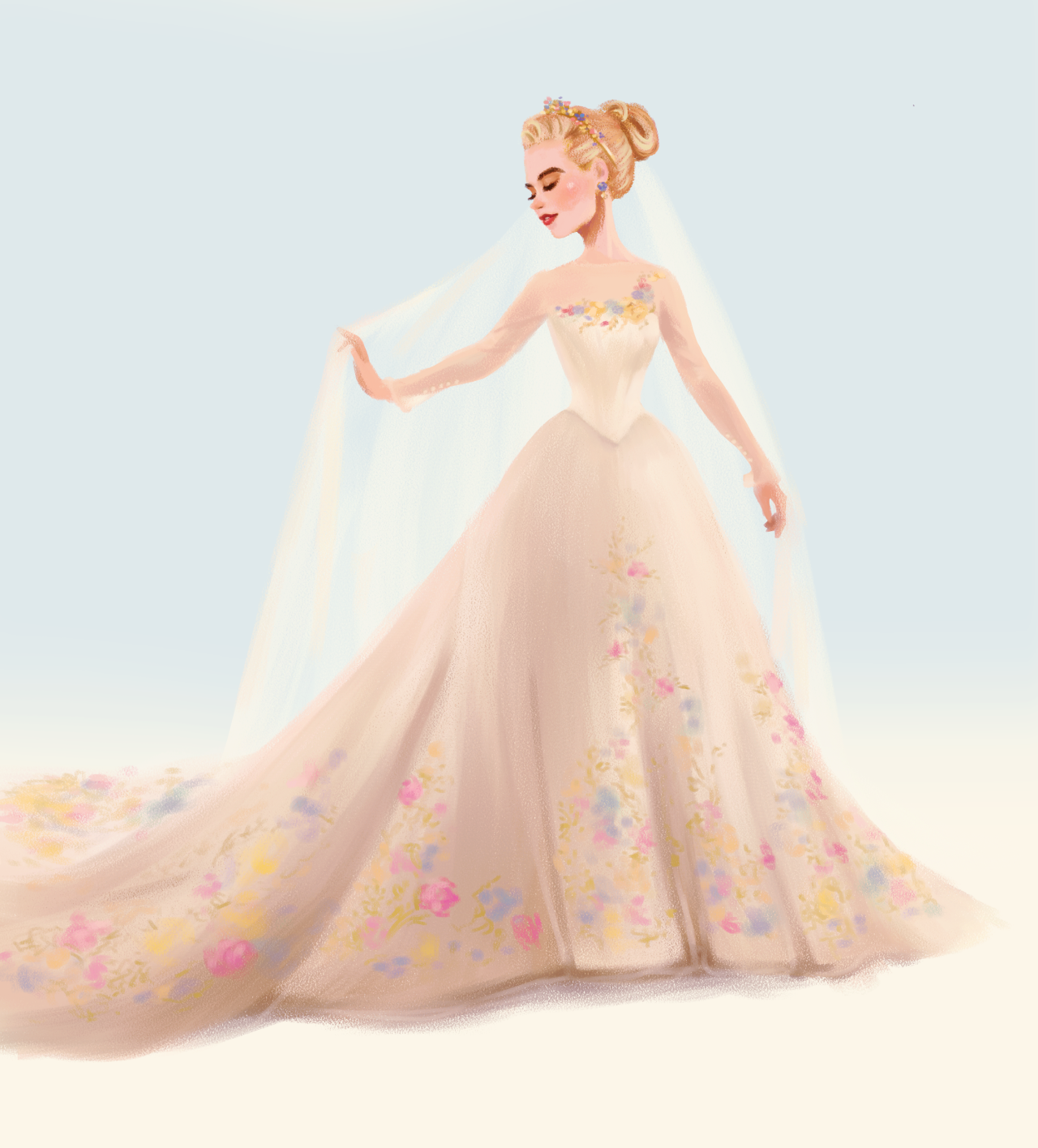Cinderella s wedding dressi had to draw ella s wedding for Cinderella wedding dress up