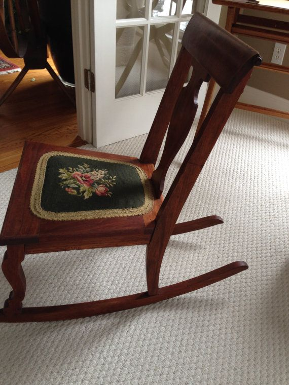 Pleasing Antique Rocker Needlepoint Seat Precious Rocking Chair Download Free Architecture Designs Scobabritishbridgeorg
