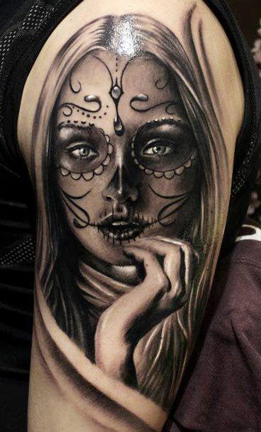 Pin De Freddy Peña En Retrato Catrina Hombro Tattoos Sugar Skull