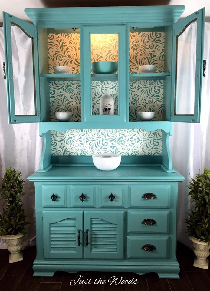 China Cabinet Makeover In Sea Foam With Stencil Backing