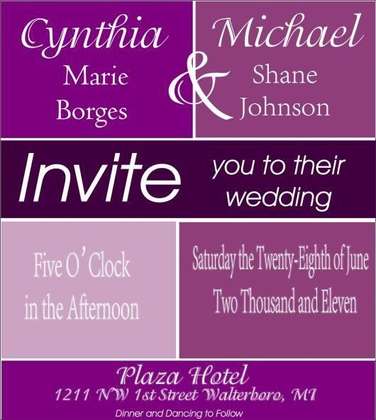 Modern Colorful Purple Colorblock Style Wedding $150.00