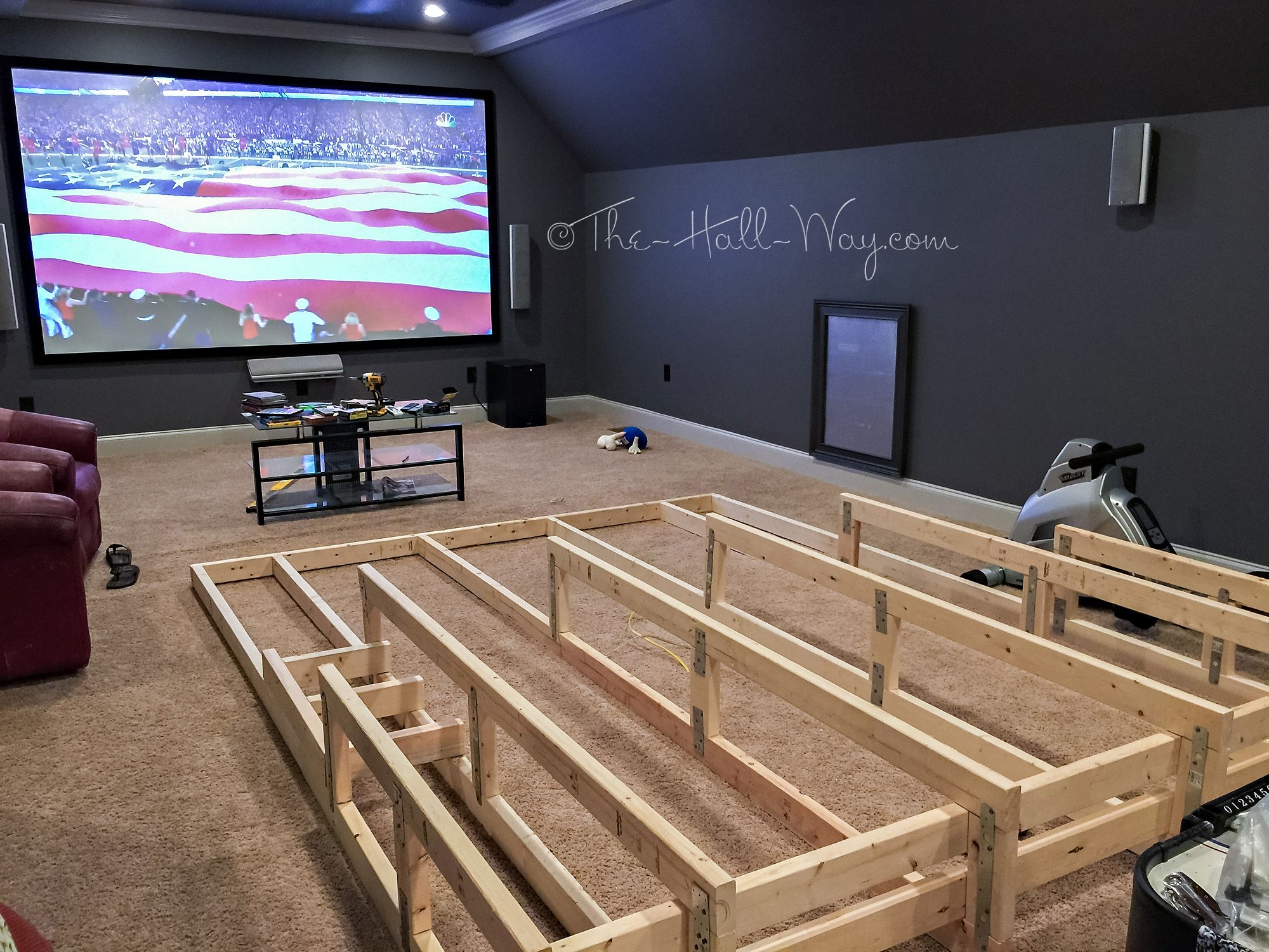 Media home theater riser diy i would add running lights for Small entertainment room decorating ideas