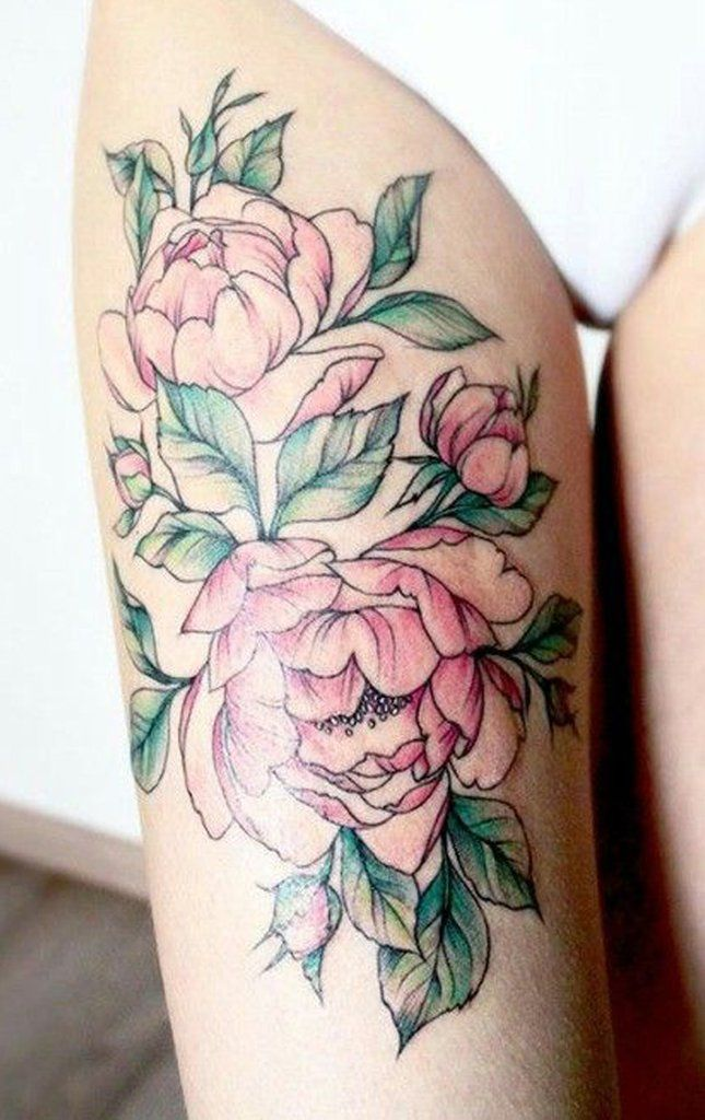 Peony Watercolor Flower Tattoos: Cute Watercolor Pink Peony Thigh Tattoo Ideas For Women