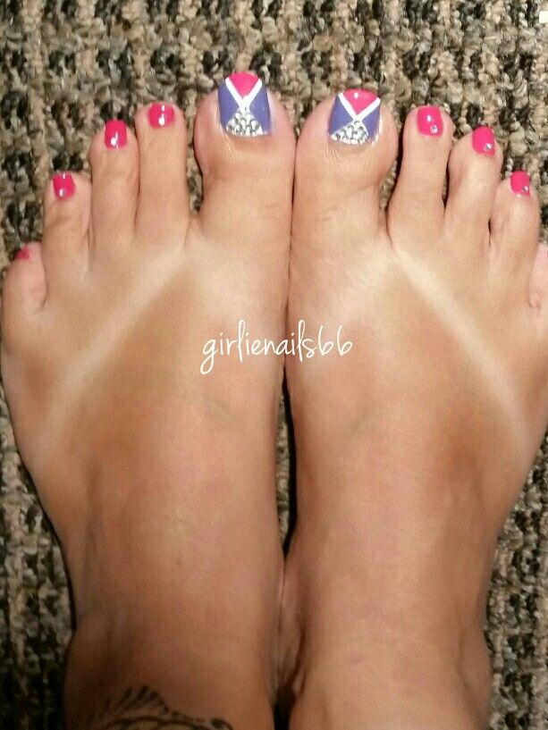 Pink purple bling toes