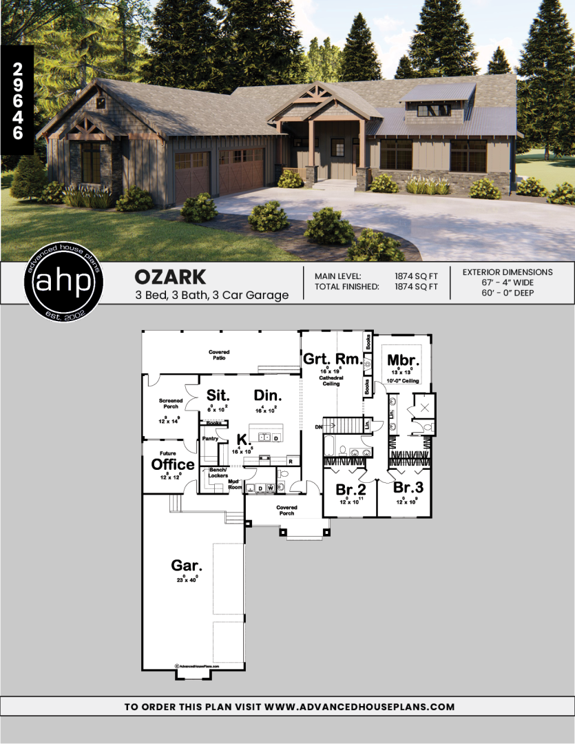 1 Story Craftsman Plan Ozark Rustic House Plans Craftsman House Plans Modern Farmhouse Floorplan