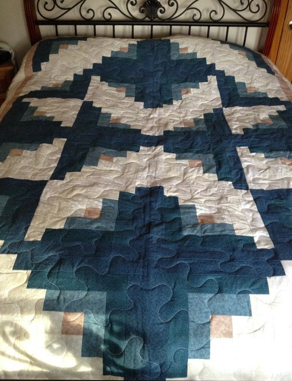 Queen Quilt Log Cabin White Blue-Green Pink by SewManyStitchesVT