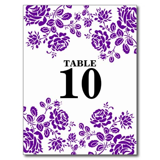 Beautiful Florals Dark Purple Table Seating Card Postcard