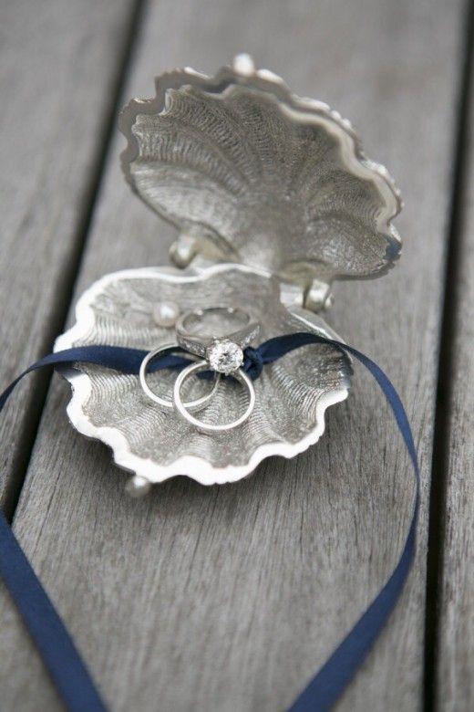 beach wedding clam ring holder jewelry WEEDING ACCESSORIES