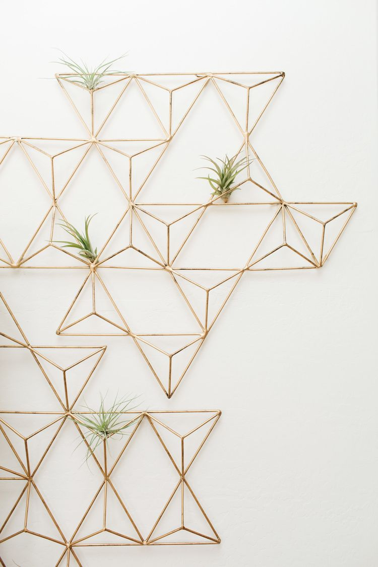 Before after living room reveal geometric wall art for Air plant wall art