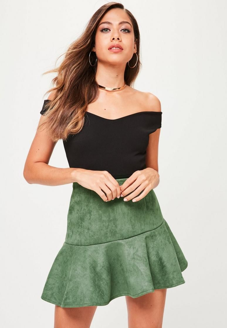 a512d7aa81 Khaki Faux Suede Asymmetric Mini Skirt - Vegan Skirt | skater skirts ...