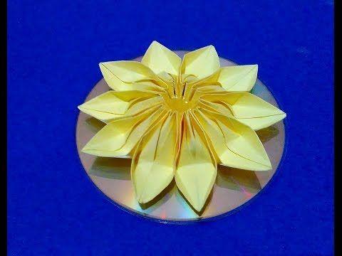 Easy Christmas ornament flower  CD Origami Christmas ornament