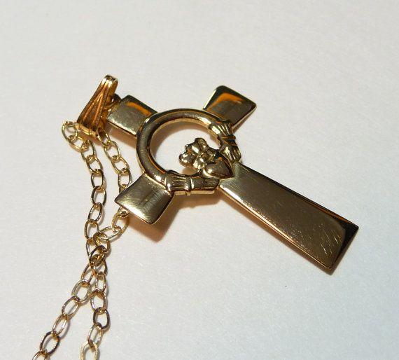 Vintage 14K Gold Claddagh Celtic Cross Pendant & Chain Irish
