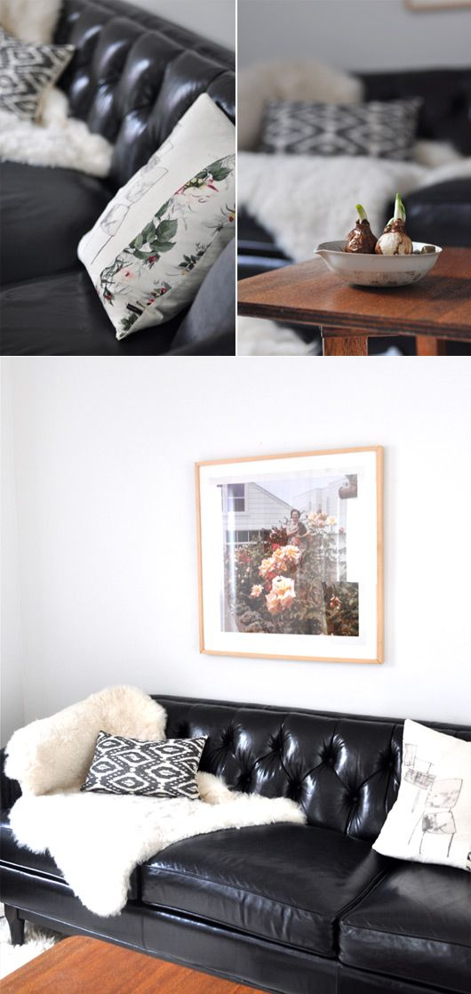 spotted our chester leather sofa in ink
