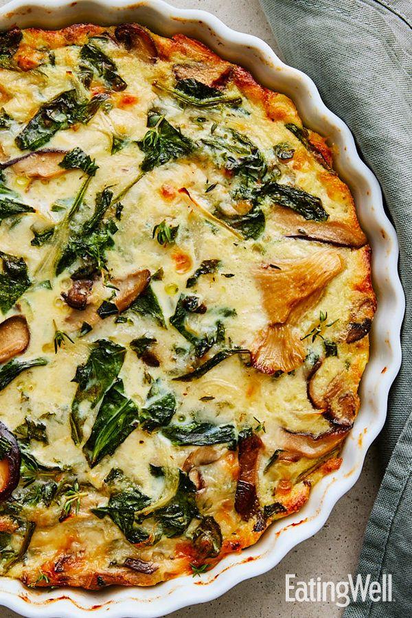 Spinach Mushroom Quiche Recipe In 2020 Quiche Recipes Healthy Healthy Brunch Recipes Quiche Recipes