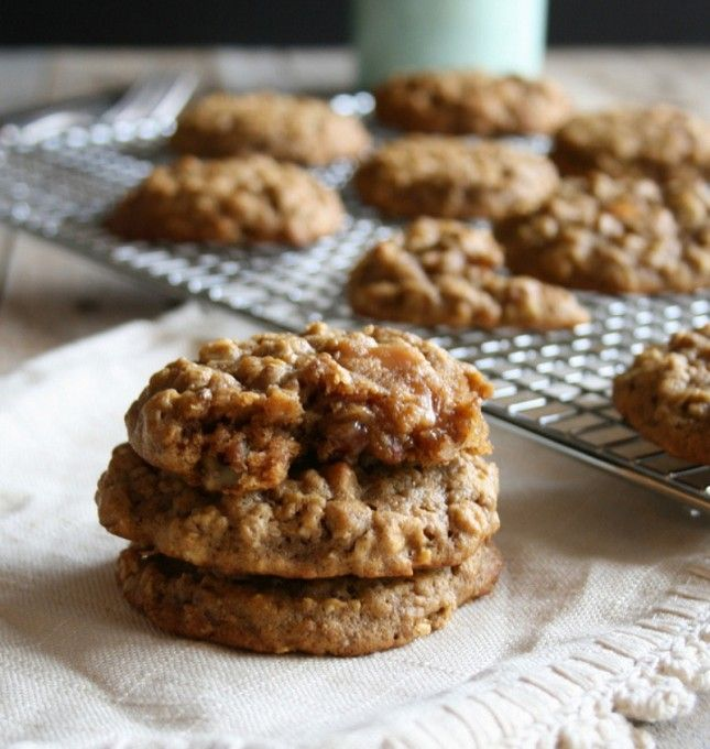 Caramel-Stuffed Pumpkin Pecan Oatmeal Cookies | 32 Irresistible Caramel Recipes You Have to Try via Brit + Co.