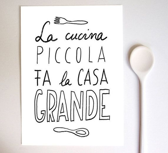 """A little kitchen makes a large home"" Anek LA CUCINA Kitchen Art Typography Print  - high quality fine art print on Etsy"