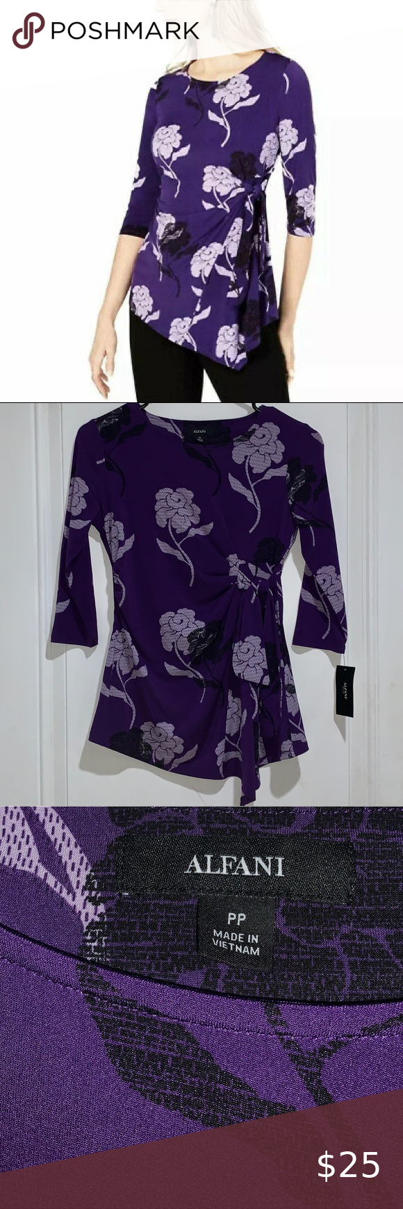 Photo of NWT Alfani Gilded Plum Blouse with Tie Front Alfani top feat…