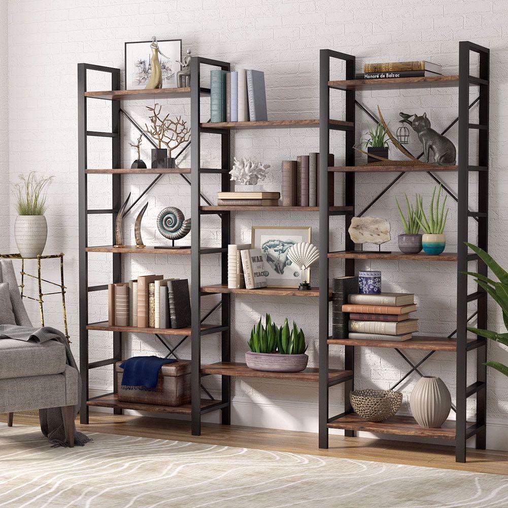 Triple Open Design It Measures 70 H X 70 86 W X 12 59 D This 14 Open Bookshelves Showcase Your Favori Metal Bookcase Open Bookshelves Etagere Bookcase
