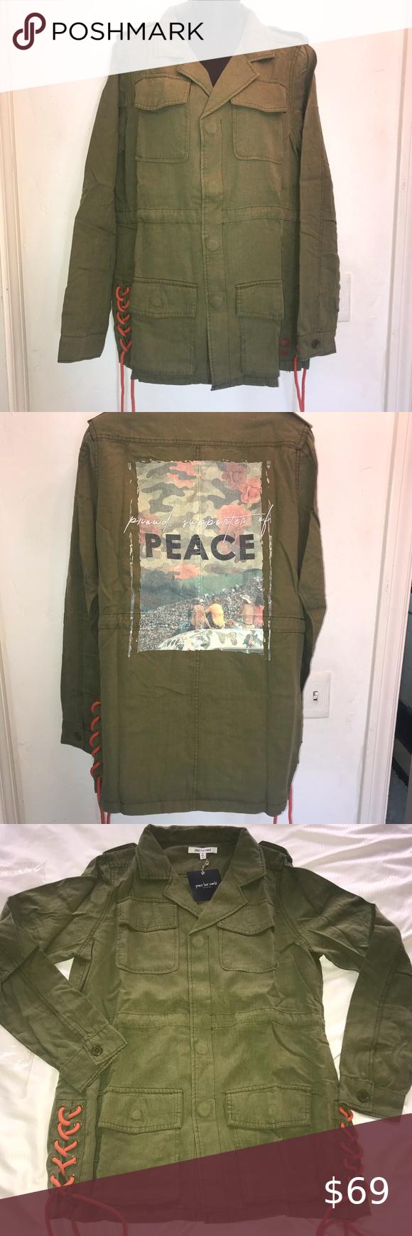 Nwt Peace Love World Scott Army Jacket All Size Army Jacket Peace Love World Clothes Design [ 1740 x 580 Pixel ]
