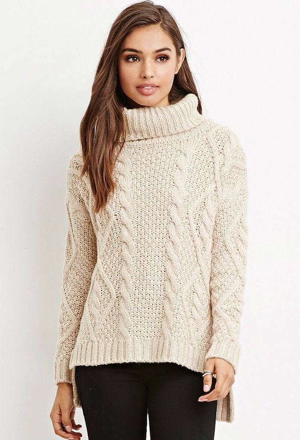 SHOPSTYLE - FOREVER 21 || Cable knit turtleneck sweater | Suéter ...