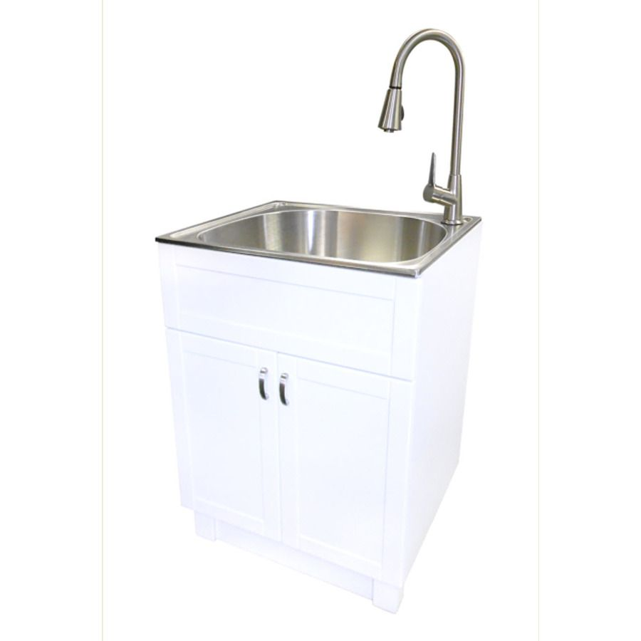 Shop transform White Cabinet with Sink and Faucet Stainless Steel ...