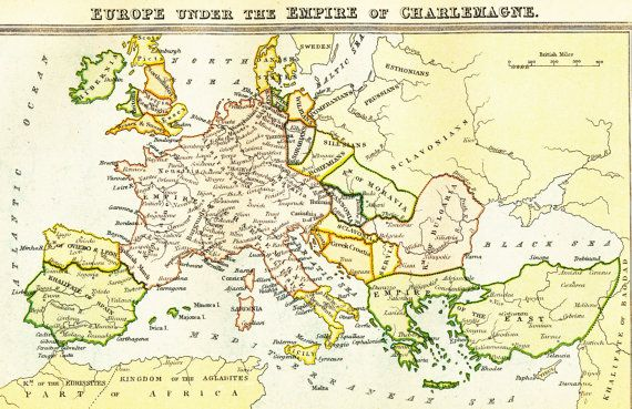 Antique Europe map showing Europe under the Empire of Charlemagne, £8.00