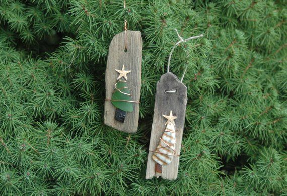 Driftwood Sea Glass and Shell Christmas Tree Handmade Ornaments -Set of 2, Handmade ornaments, Beach ornaments, Coastal Christmas