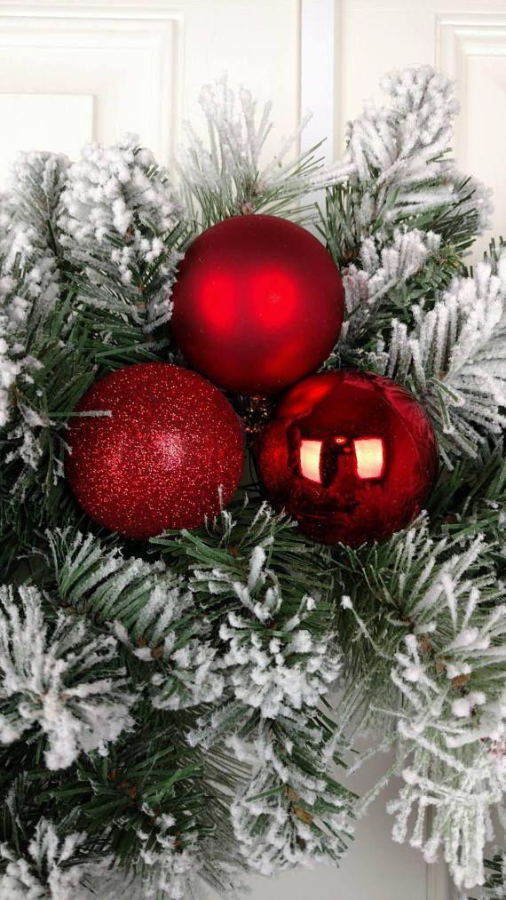 Christmas Wreath Centerpiece Wreath Holiday Flocked Wreath