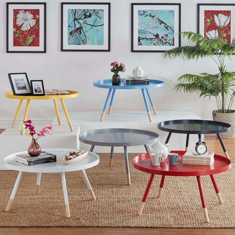 Marcella Paint-dipped Round Spindle Tray Top Coffee Table iNSPIRE Q Modern  by iNSPIRE Q
