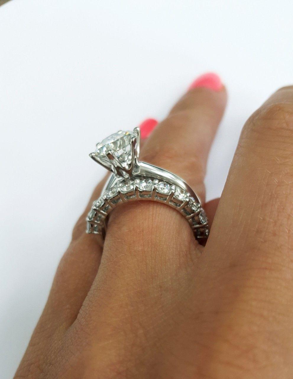 Round Solitaire Diamond Engagement Ring And Half Eternity Diamond Wedding Band Set Vin Solitaire Wedding Ring Set Diamond Wedding Band Sets Diamond Engagement