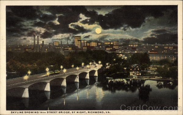 Skyline Showing 14th Street Bridge By Night Virginia History Richmond Richmond Va