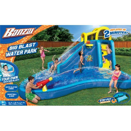 banzai big blast water park inflatable water slide lagoon splash pool basketball hoop