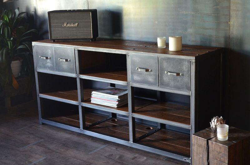 251meuble industriel sur mesure jpg idees meubles industriels pinterest bibliotheque sur. Black Bedroom Furniture Sets. Home Design Ideas