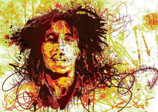 Pintado a mano pintura al óleo en la lona Bob Marley del arte pop pintura al