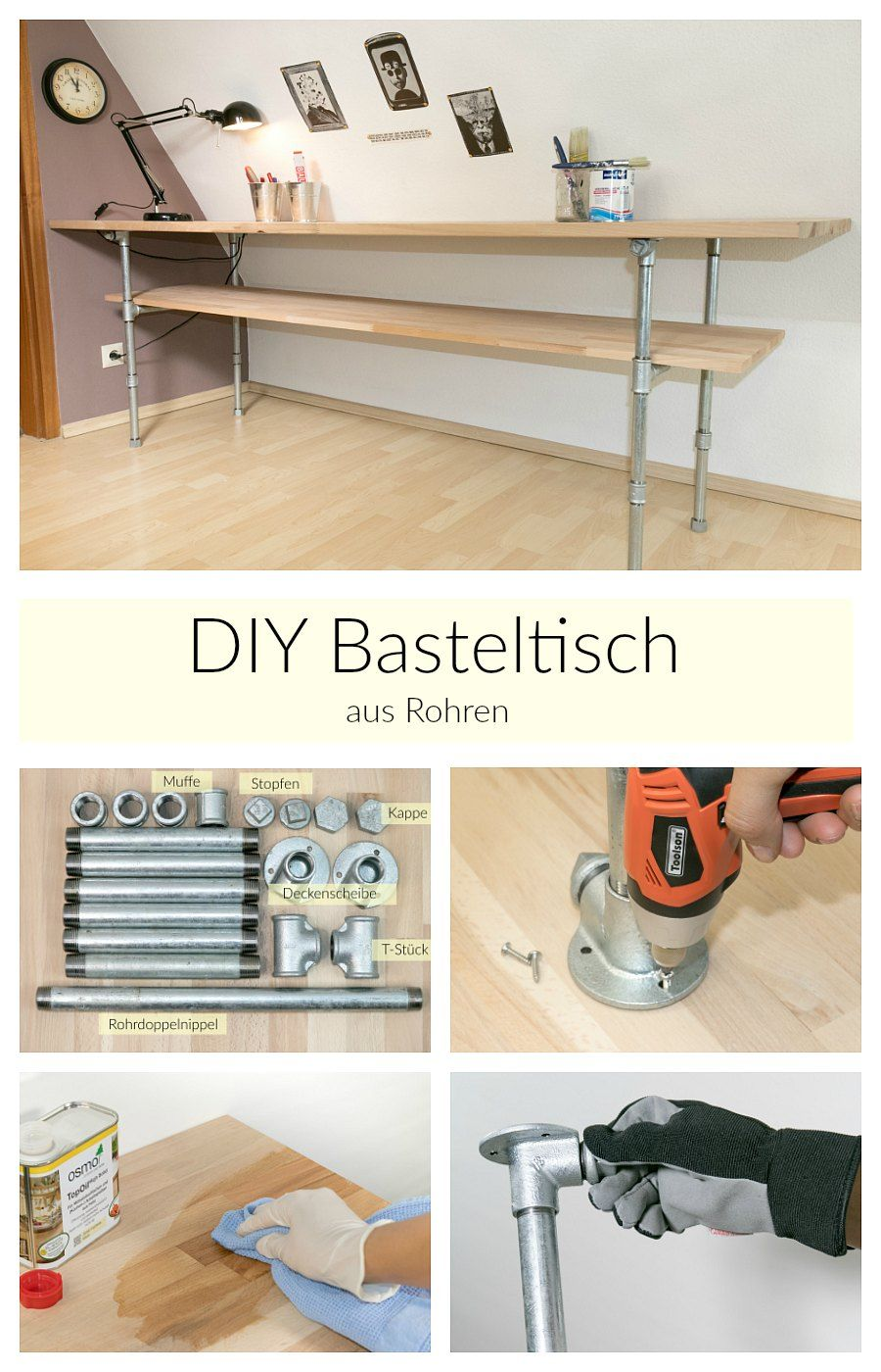 aus rohren m bel bauen tisch mit rohren diy anleitung diy tisch basteltische und m bel. Black Bedroom Furniture Sets. Home Design Ideas